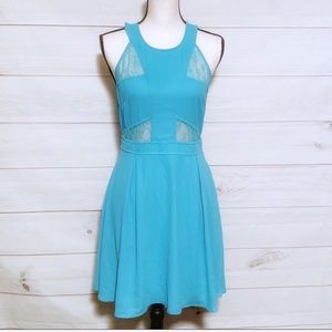 Forever 21 Teal Lace Halter Style Dress Sz M